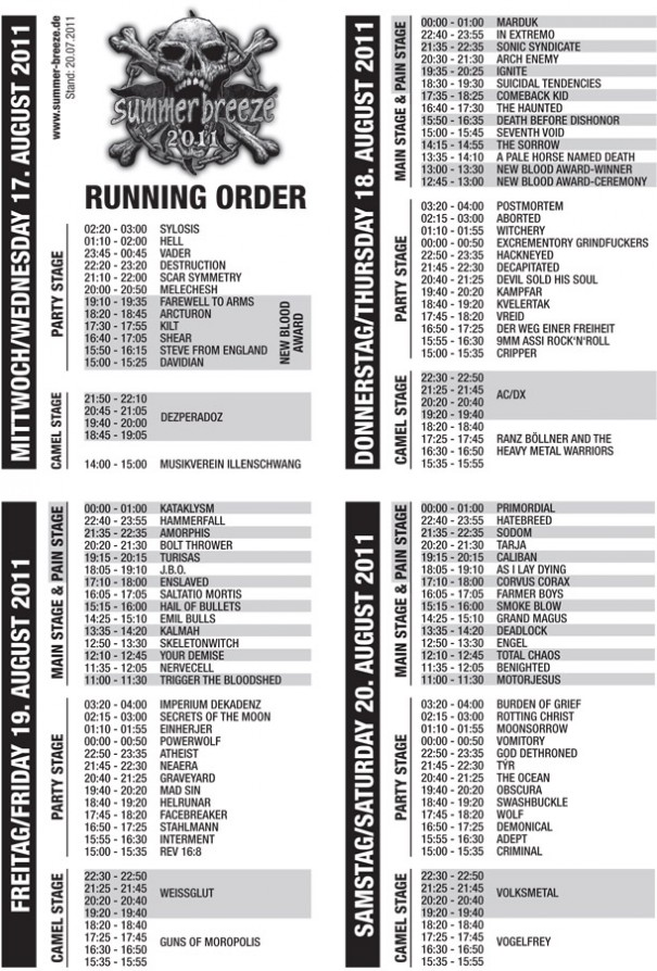 Summer Breeze 2011 Running Order