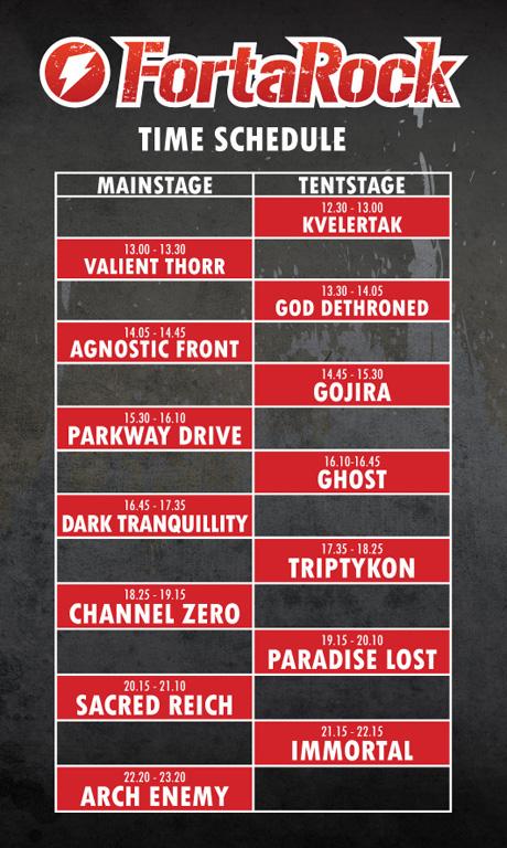 Fortarock Metal Festival 2011  Running Order
