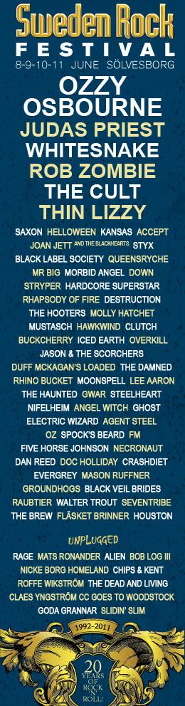 Sweden Rock Festival 2011 lineup