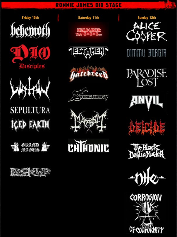 Bloodstock 2012 - Ronnie James Dio Stage Lineup