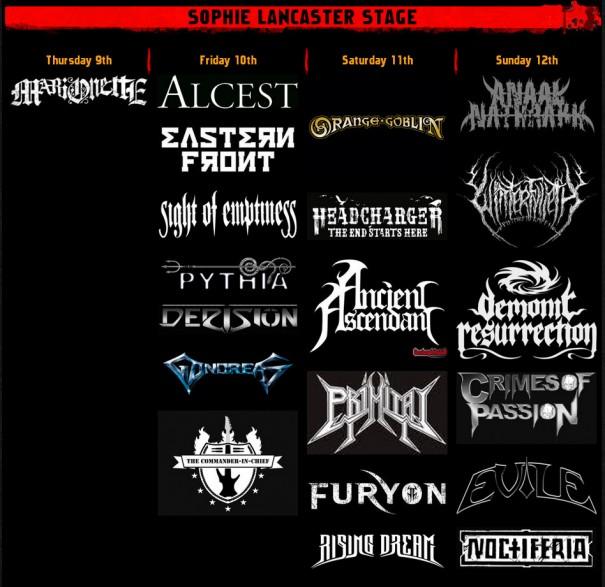 Bloodstock 2012 - Sophie Lancaster Stage Lineup