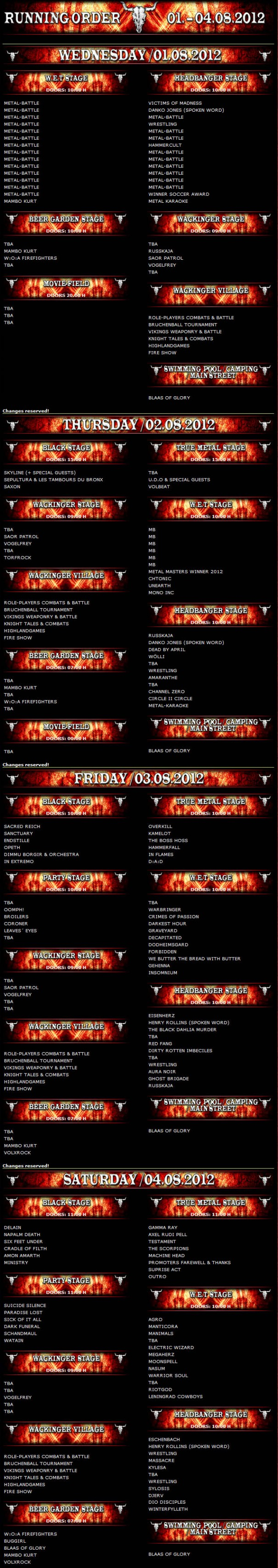 Wacken 2012 Running Order
