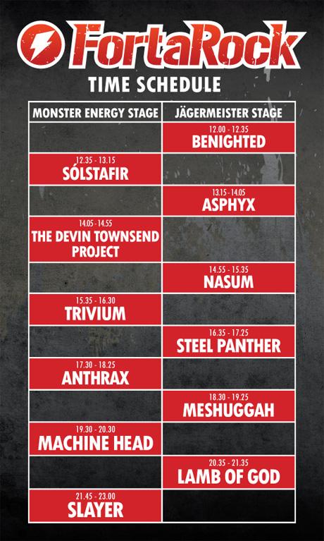 FortaRock 2012 Running Order