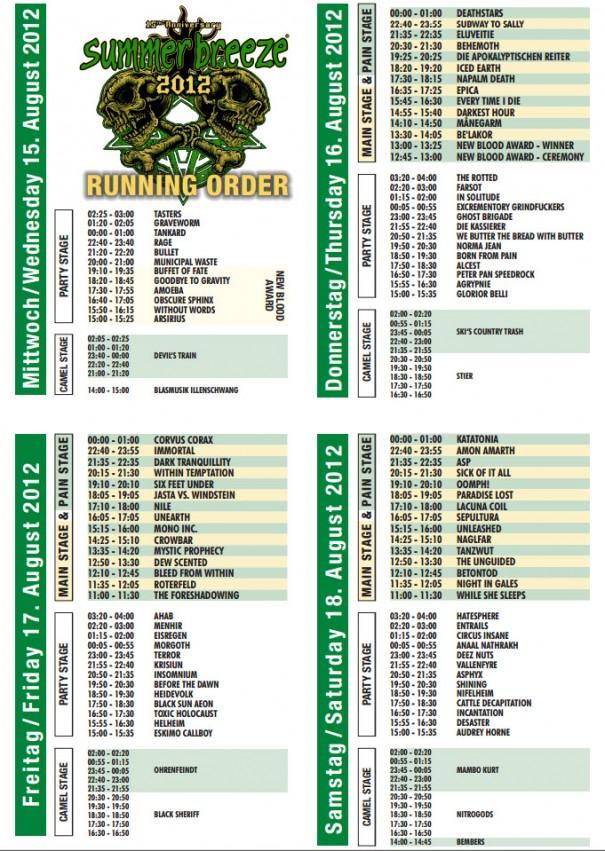 Summer Breeze 2012 Running Order