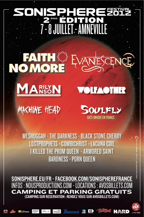Sonisphere France 2012 Lineup