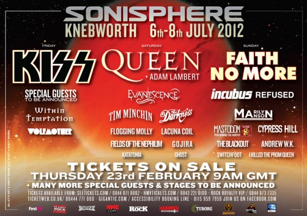 Sonisphere UK 2012 Lineup - Queen, Kiss and Faith No More