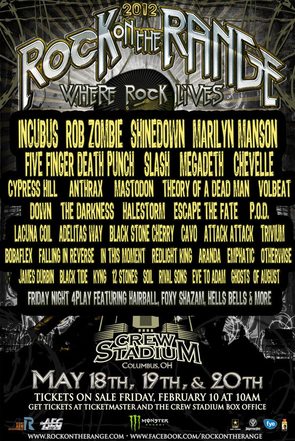 Rock on the Range 2012 Lineup