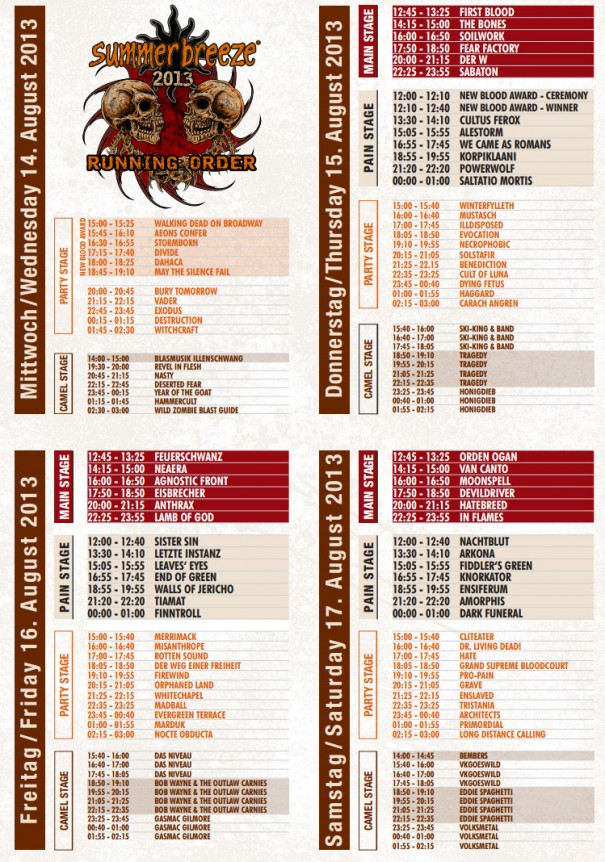 Summer Breeze 2013 Running Order