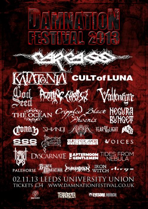 Damnation Festival 2013 Lineup
