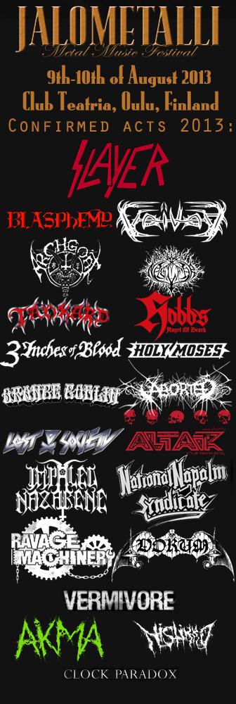 Jalometalli 2013 Lineup