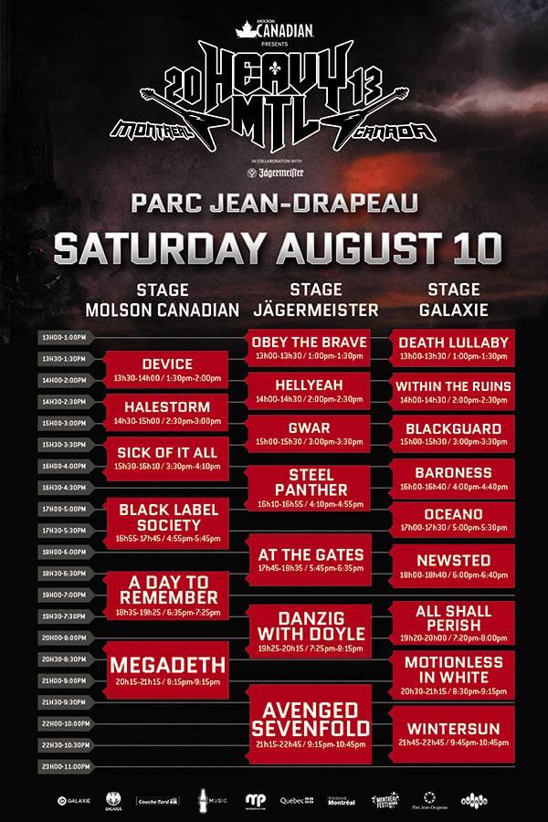 Heavy MTL 2013 Schedule