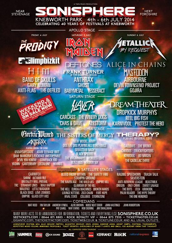 Sonisphere Uk 2014 Lineup 1