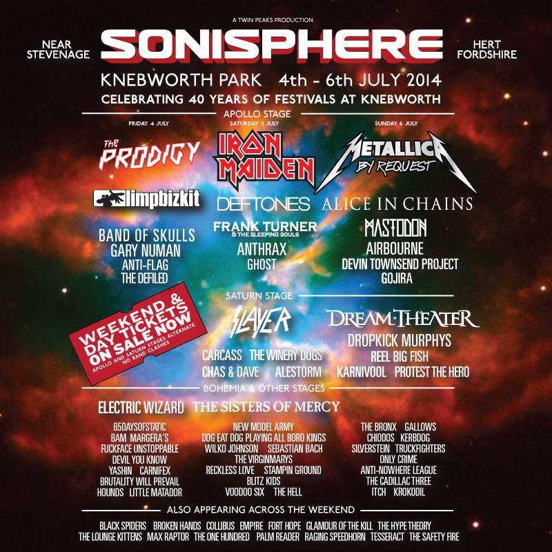 Sonisphere Uk 2014 Lineup