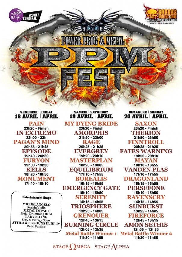 PPM Metal Fest schedule 2014