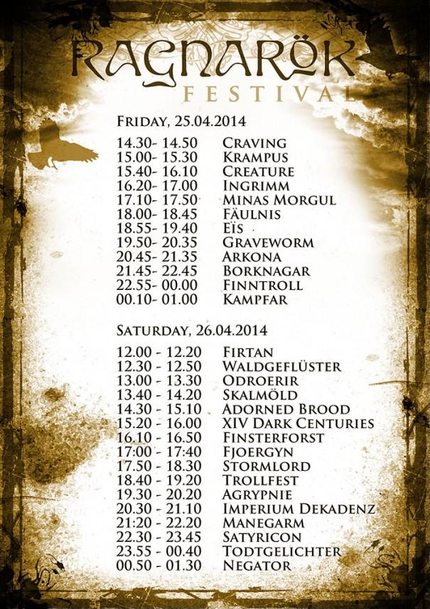 Ragnarök Festival 2014 Running Order