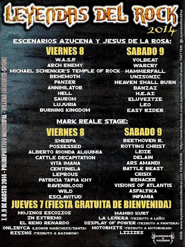 Leyendas Del Rock Festival 2014 Daily Schedule