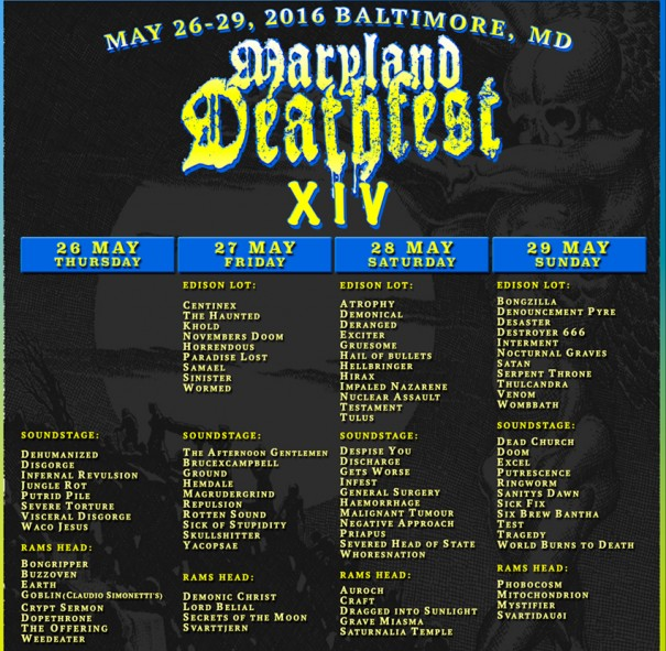 Maryland Deathfest XIV 2016 Running Order