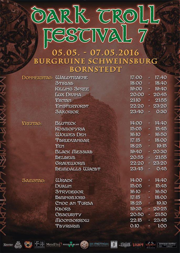 Dark Troll Festival 2016 Running Order