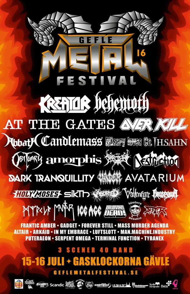 Gefle Metal Festival 2016 Lineup