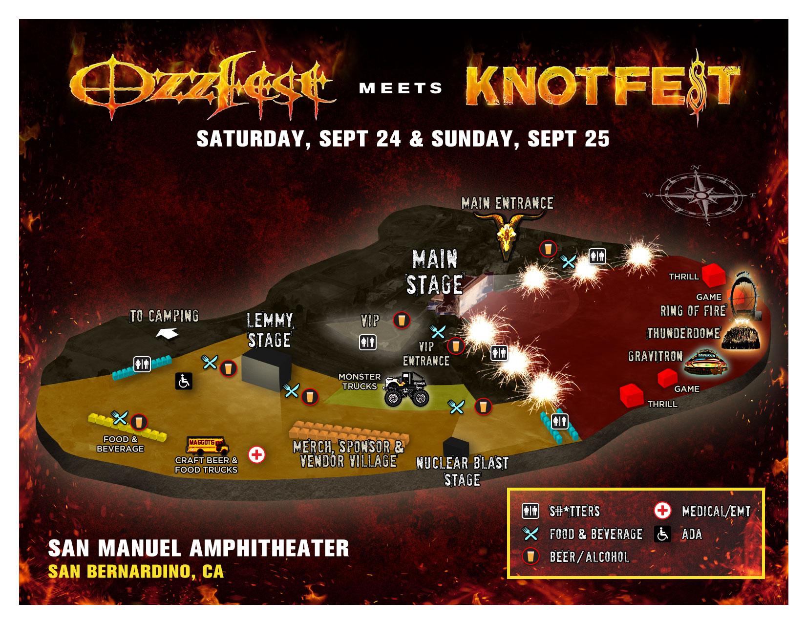 Ozzfest Meets Knotfest 2016 Map
