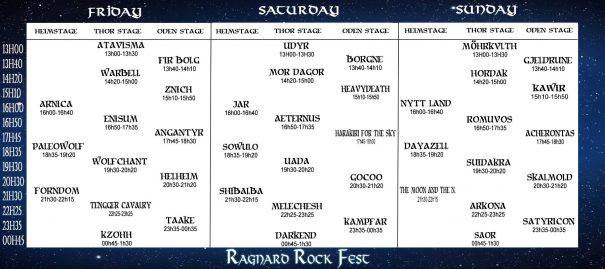 Ragnard Rock Fest 2017 schedule