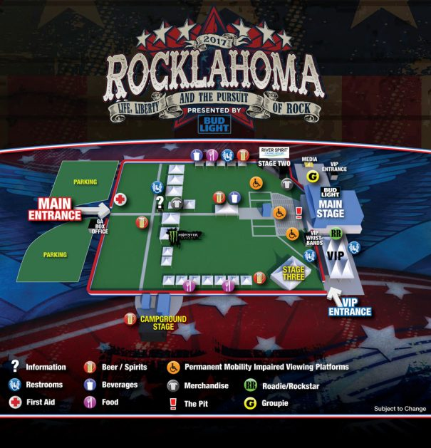 Rocklahoma 2017 Festival Map