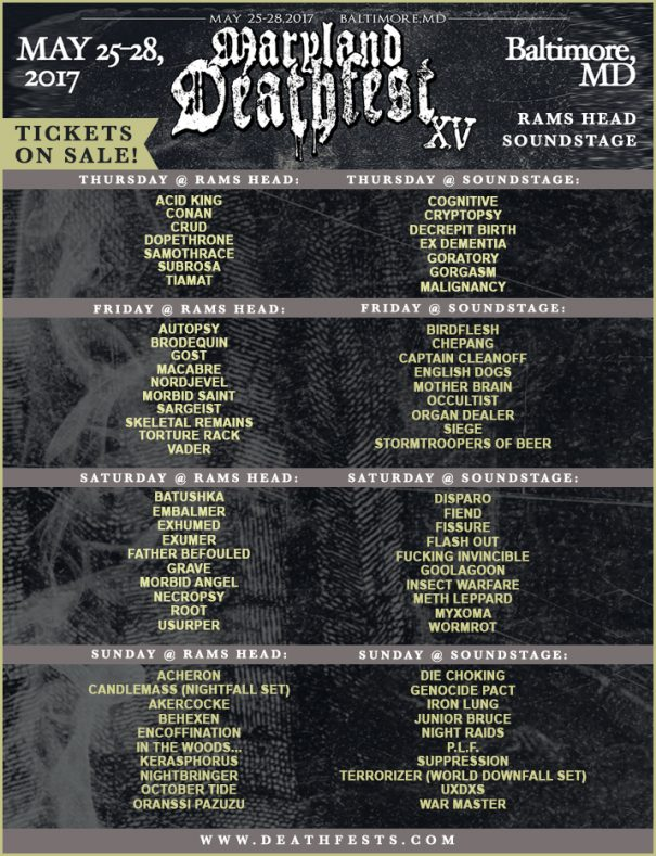 Maryland Deathfest XV 2017 Daily Schedule